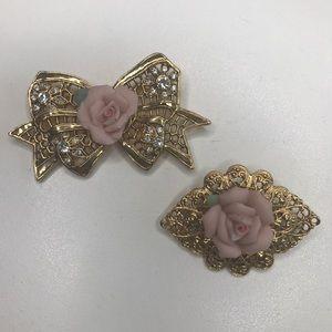 2 Vintage Gold & Pink Flower Pins Brooch